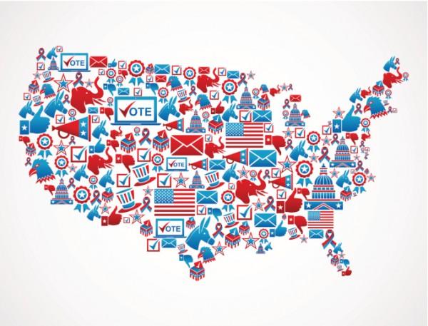 US Election 2016 map of voting symbols