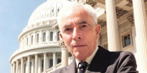 Close-up photo of Rhode Island Senator Claiborne de Borda Pell outside of the Capitol building in Washington, D.C.