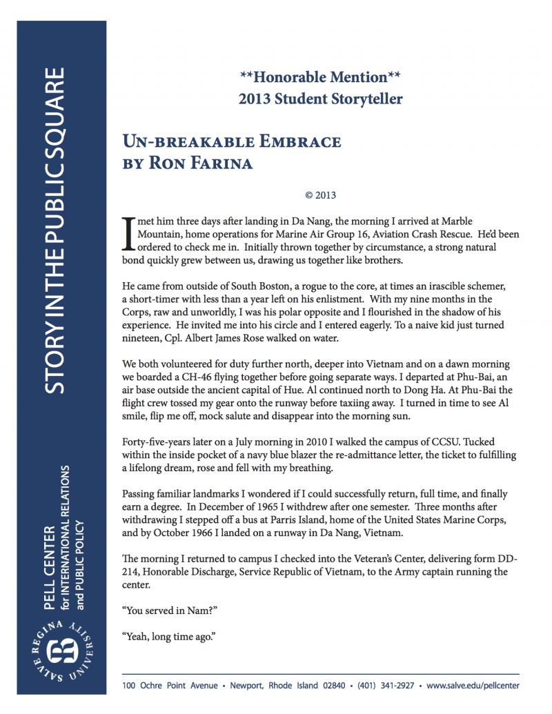 Un-breakable Embrace by Ron Farina - The Pell Center for