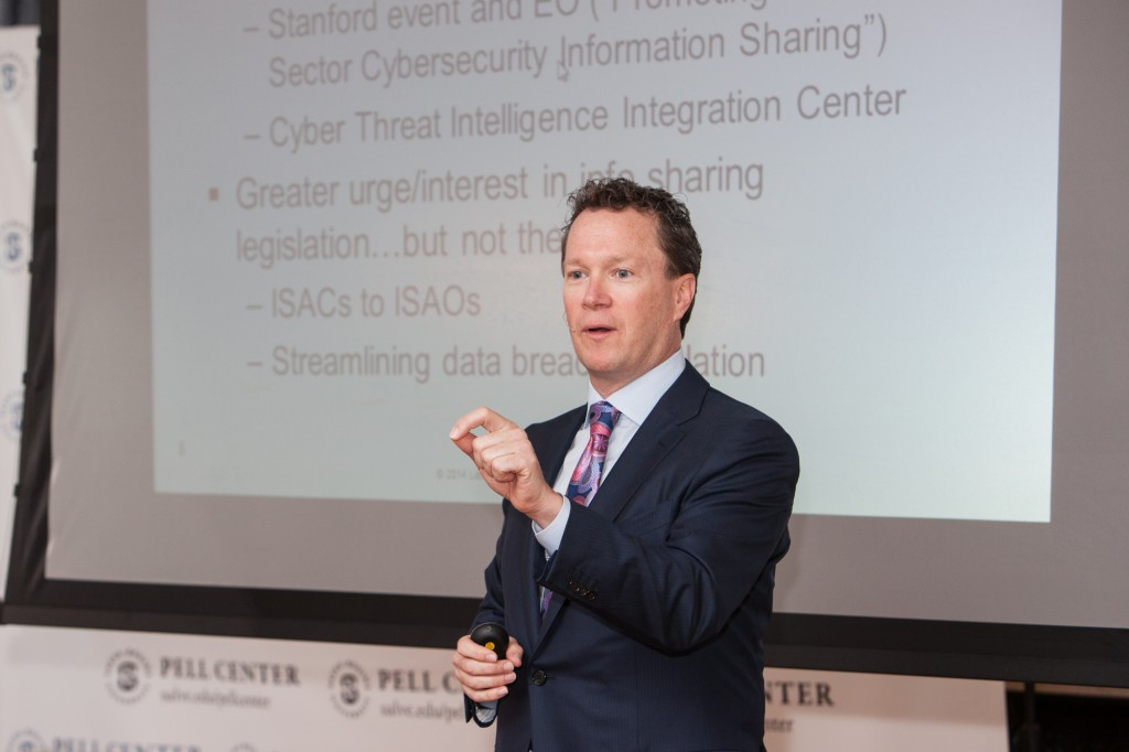Roger Cressey speaks about cybersecurity at the Pell Center.