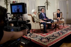 Pell Center Executive Director Jim Ludes and Fellow G. Wayne Miller sit down with Lisa Genova on the set of Story in the Public Square.