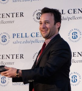 Danny Strong reacts while receiving his award from Sister Jane Gerety during the Story in the Public Square Conference at Salve.