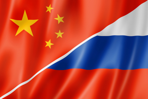 Chinese and Russian flags in juxtaposition