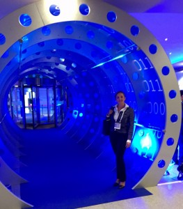 Francesca Spidalieri stands in a decorative archway at the 2015 Global Conference on CyberSpace