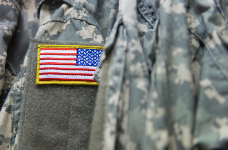 Close up of a United States Army uniform and its American flag patch