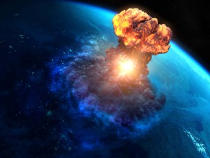 Image of a large mushroom cloud extending out from the surface of the Earth into space