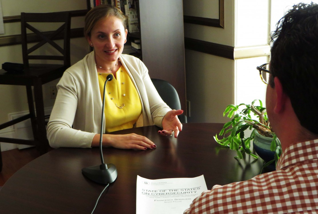 Pell Center Executive Director Jim Ludes interviews Senior Fellow Francesca Spidalieri during a podcast about her cybersecurity report entitled State of the States on Cybersecurity