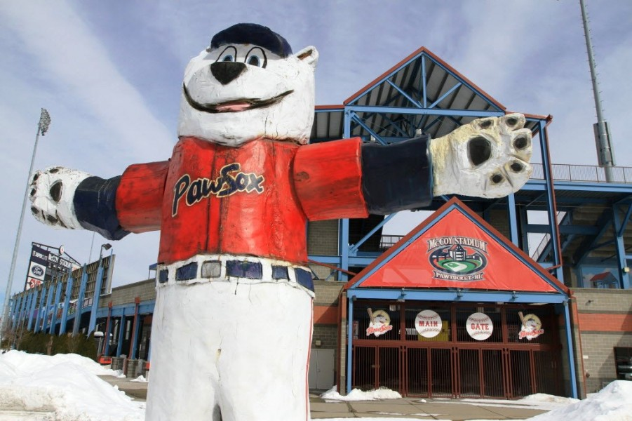 Photo of the Pawtucket Red Sox mascot, Paws, outside of McCoy Stadium in Pawtucket, RI.