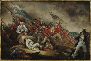 Painting by John Trumbull depicting The Death of General Warren at the Battle of Bunker's Hill on June 17, 1775 among fellow soldiers still engaged in warfare.