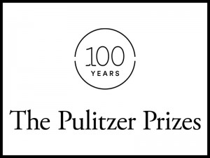 Logo for 100 years of the Pulitzer Prizes featuring a black and white theme with a circular emblem.
