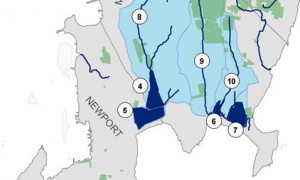 Cropped image of the map for the city of Newport's watershed.