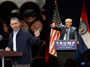 Juxtaposing images of President Barack Obama and Republican candidate for the presidency Donald Trump pointing into the crowd at speaking engagements.