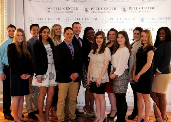 Photograph of the 2016-2017 Nuala Pell Leadership Fellows at the Pell Center.