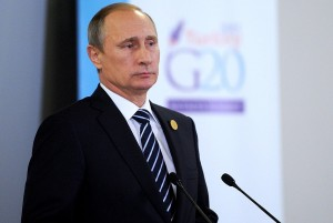 Photo of Russian president Vladimir Putin at a speaking engagement.