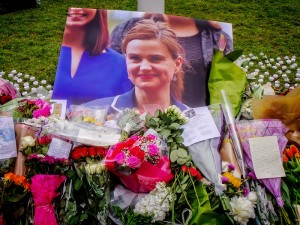 Photograph of a memorial for Jo Cox.