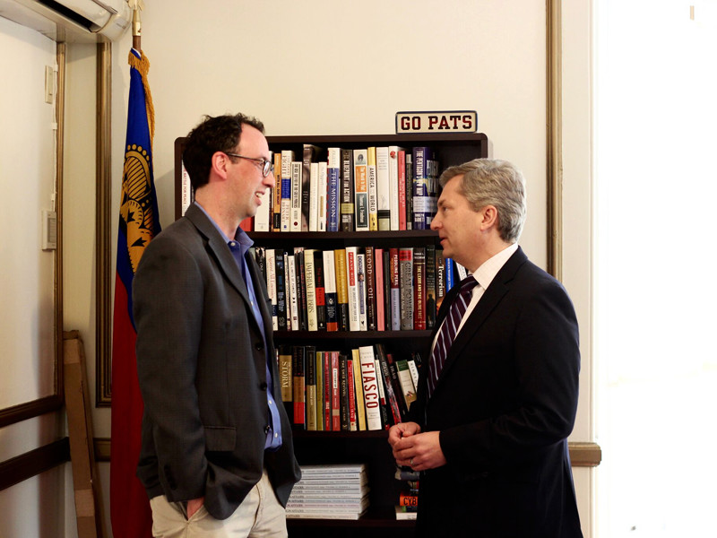 Pell Center Executive Director Jim Ludes speaks with Scott Bates during a podcast.