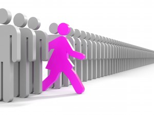 Symbol of a woman stepping forward out of a column of men
