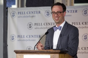Pell Center Executive Director Jim Ludes smiles as he introduces Javier Manzano, the recipient of the 2016 Pell Center Prize for Story in the Public Square.
