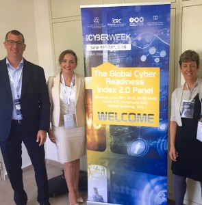 Pell Center Senior Fellow Francesca Spidalieri poses for a photo with colleagues from Haifa University and the Konfidas company at a Cyber Week event in Tel Aviv, Israel.