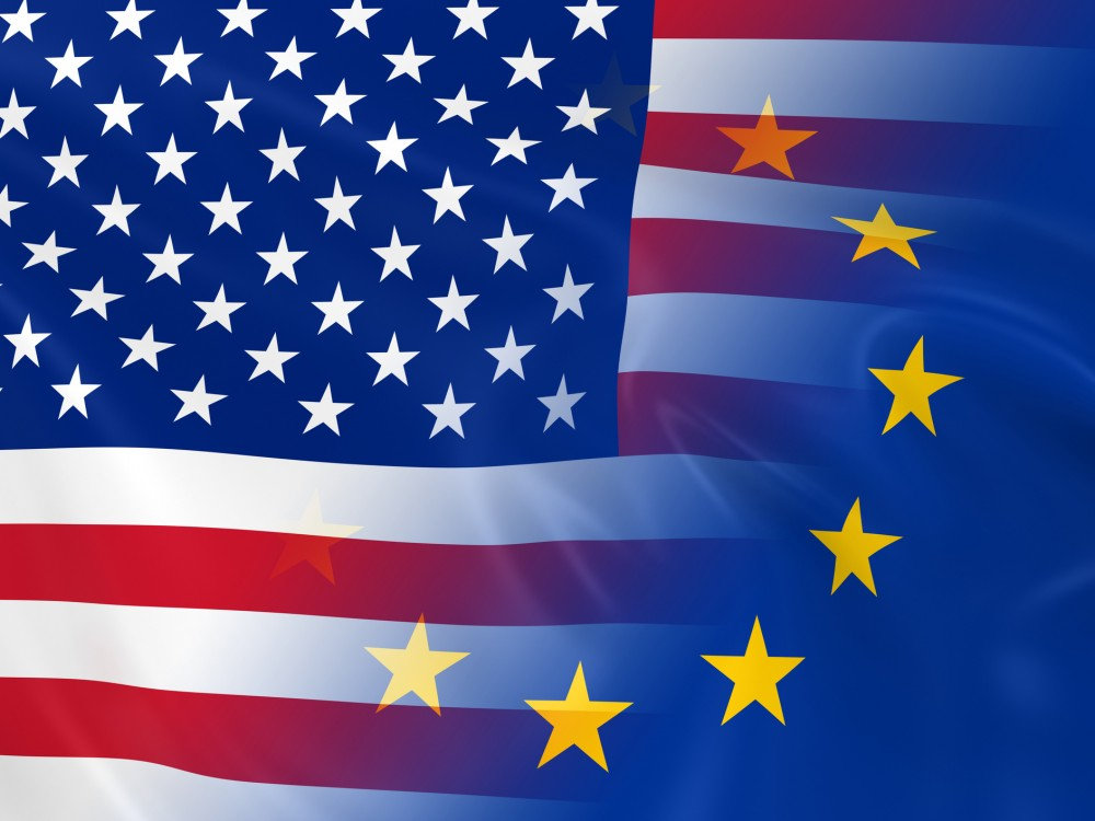 Flags of the United States of America and the European Union Fading Together