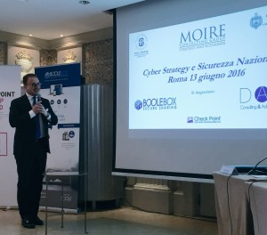 President of Moire Consulting, Stefano Mele, makes a presentation at a cybersecurity conference in Rome, Italy.