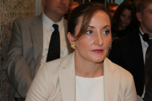 Pell Center Senior Fellow Francesca Spidalieri looks away from the camera at a cybersecurity conference in Rome, Italy.