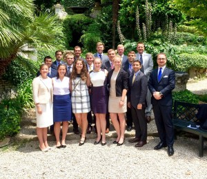 Pell Center Senior Fellow Francesca Spidalieri poses with a delegation of 16 others from the United States Naval Academy while attending a cybersecurity conference in Rome, Italy.