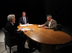 The Pell Center's Executive Director Jim Ludes and the Providence Journal's G. Wayne Miller sit down with photojournalist Javier Manzano on the set of Story in the Public Square.