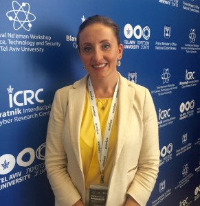 Pell Center Senior Fellow Francesca Spidalieri stands in front of a banner promoting the Cyber Week conference in Tel Aviv, Israel.