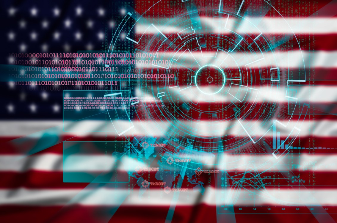 An American flag with a cyber design.