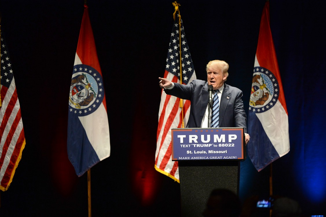 Photo of Donald Trump speaking animatedly to the crowd at a campaign rally in St. Louis, Missouri