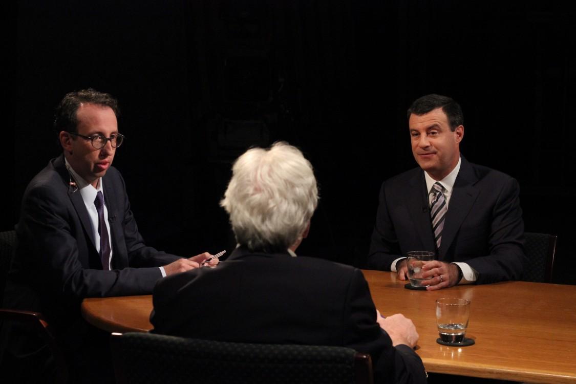 Executive Director Jim Ludes and fellow G. Wayne Miller speak with emmy award-winning broadcast journalist David Schuster