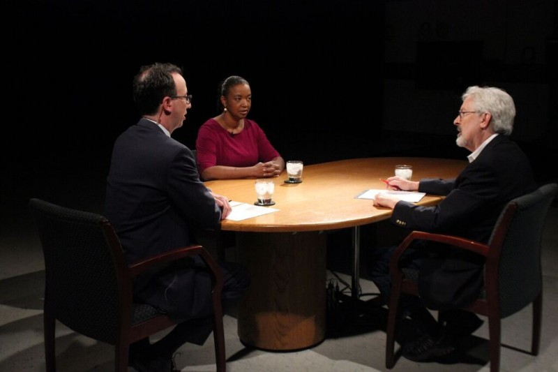 Pell Center Executive Director Jim Ludes and fellow G. Wayne Miller speak with Raina Kelley on the set of Story in the Public Square.