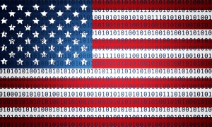 American flag with cyber code over the image.