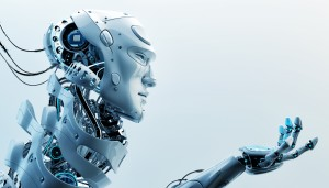 A robotic man facing right and gesturing with his hand