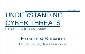"Title page of ""Understanding Cyber Threats: Lessons from the Boardroom,"" a publication from the Pell Center"