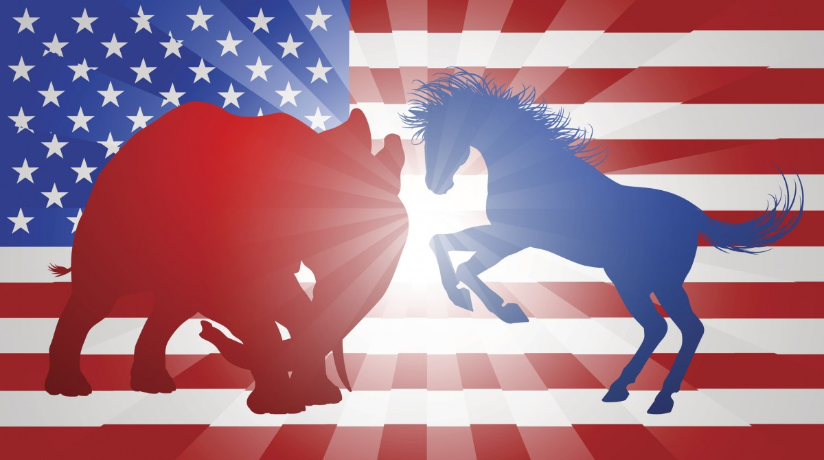 American flag with the Republican elephant and the Democratic donkey clashing against one another.