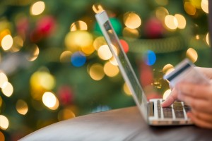Online Christmas shopping with a credit card