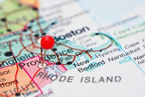 closeup map of the northeast with providence, rhode island pinned and in focus