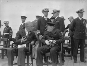 Black and white photo of FDR and Winston Churchill at the Atlantic Conference