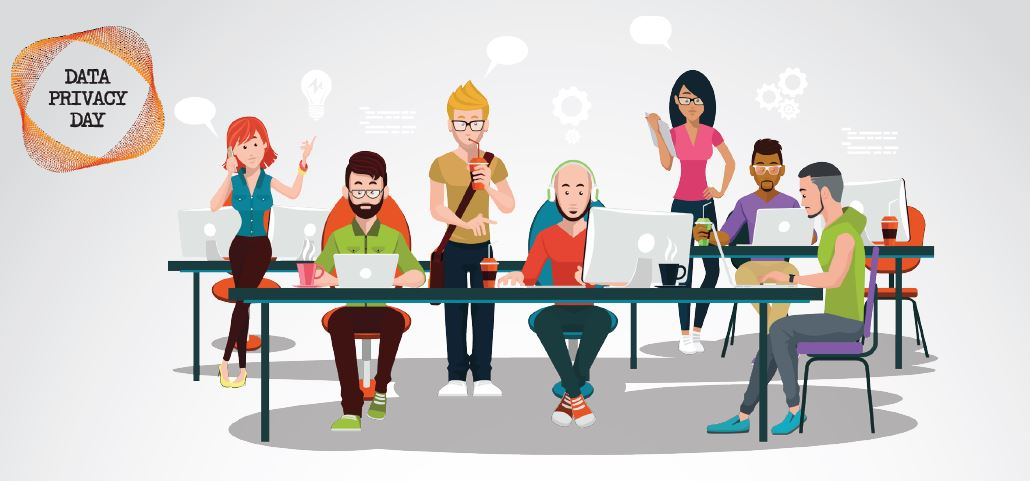 Clip art image of people interacting with technology on data privacy day