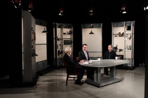 Professor Jonathan Alexandratos on set of Story in the Public Square