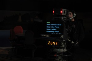 Photo of teleprompter for Story in the Public Square