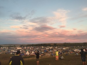 north dakota access pipeline campsite at sunset