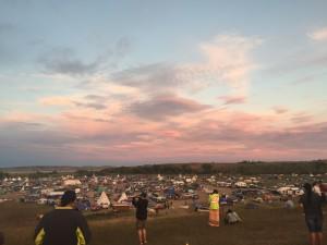 north dakota access pipeline campsite at sunset