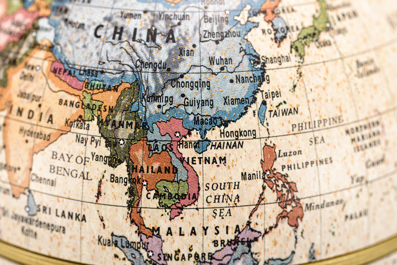 Globe with focus on South East Asia