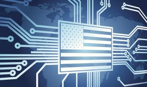 An American flag at center of a cyber grid
