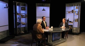 G. Wayne Miller, Jim Ludes and Michael Corkery sitting on set at Story in the Public Square.