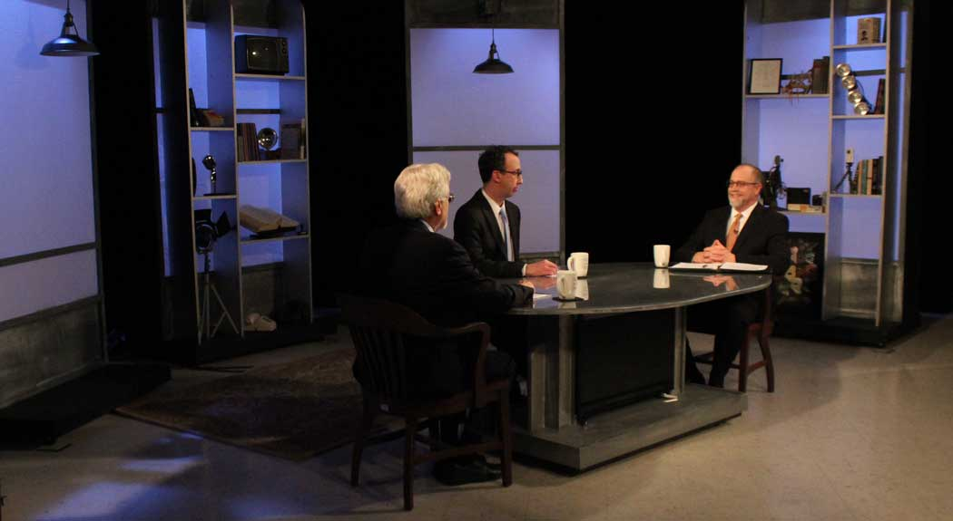 "Jim Ludes and G. Wayne Miller with Michael Kennedy on set of ""Story in the Public Square"""