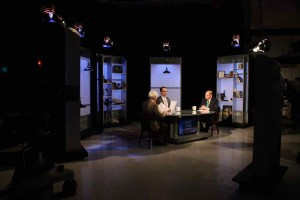 "Jim Ludes and G. Wayne Miller with Bob Hackey on set of ""Story in the Public Square"""